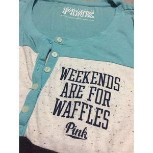 PINK Victoria's Secret Tops - Weekends are for Waffles Sleep Tunic